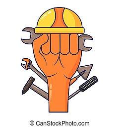 ヘルメット, 上げられた, 道具, 手
