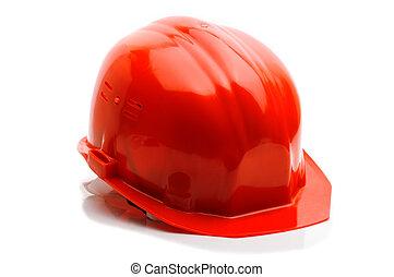 ヘルメット, 上に, 隔離された, 背景, 白い赤