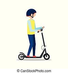 ヘルメット, 乗車, 人, スクーター, 白, 電気である, 背景