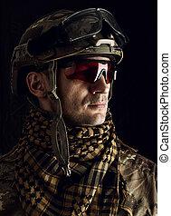 ヘルメット, 人, ガラス, 軍