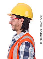 ヘルメット, 労働者, 若い, 隔離された, 建設, 白