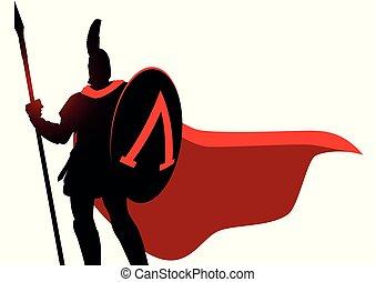 ヘルメット, 外套, 身に着けていること, spartan, 赤, 戦士