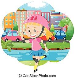 ヘルメット, 女の子, rollerskate