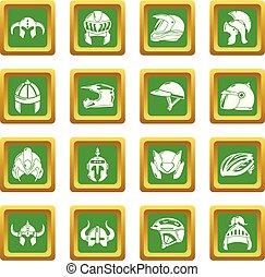 ヘルメット, 広場, セット, アイコン, ベクトル, 緑
