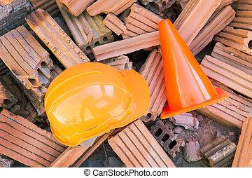 ヘルメット, 懸命に, サイト, 建設, 安全, 帽子