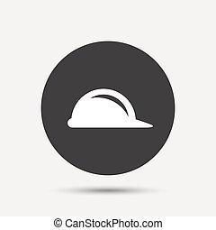 ヘルメット, 懸命に, シンボル。, 印, 建設, icon., 帽子