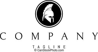 ヘルメット, 抽象的, ギリシャ語, ベクトル, 黒, ロゴ, デザイン