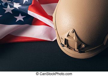 ヘルメット, 旗, アメリカ人, 背景, 軍