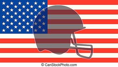 ヘルメット, 旗, シルエット, アメリカ, フットボール
