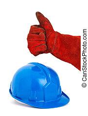 ヘルメット, 概念, オーケー, intended, 写真, positivity, シンボル。, 手, security., 仕事, 安全, 運びなさい, ポジティブ, 表現