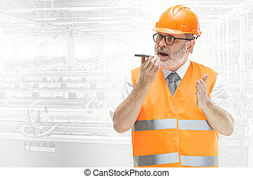 ヘルメット, 産業, 建築者, に対して, 背景, オレンジ