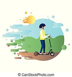 ヘルメット, 自然, 乗車, 人, スクーター, 電気である, 背景