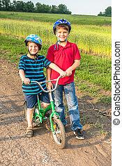 ヘルメット, 自転車, スポーティ, 子供