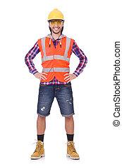 ヘルメット, 若い, 労働者, ブリーフ, 隔離された, 建設, 白