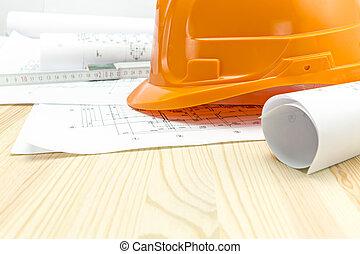 ヘルメット, 計画, 安全, オレンジ, 建築である