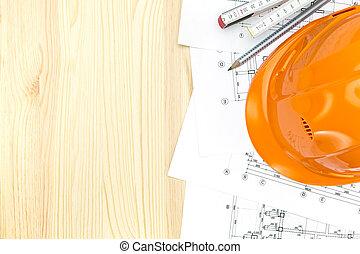 ヘルメット, 計画, 木製の定規, 安全, 建築である
