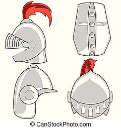 ヘルメット, 騎士, 防御, 鋼鉄, 混乱状態, 年齢, 変えられた