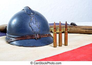 ヘルメット, b, 銃, フランス語, 世界, 白, 戦争, 赤, 最初に
