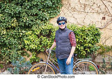 ヘルメット, happyful, サングラス, ジャケット, サイクリング, 人