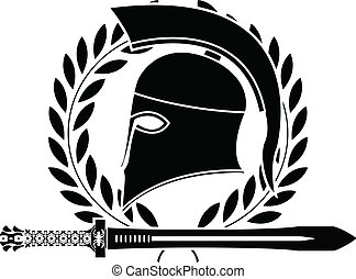 ヘルメット, hellenic, 剣, ファンタジー