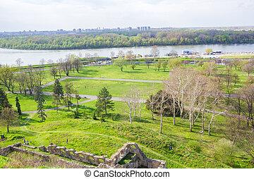 ベオグラード,  kalemegdan, 公園, 緑, パノラマ, 要塞, 光景