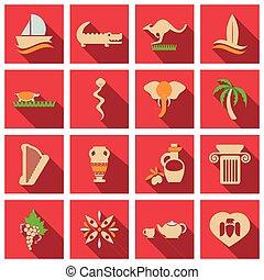 ベクトル, ありなさい, セット, 要素, 古代, agencies., 旅行, イラスト, 主題, 使われた, デザイン, 缶, 彼ら, イメージ, ロゴ, greece.
