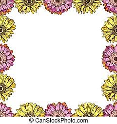ベクトル, ありなさい, セット, frame., 挨拶, パターン, 咲く, seamless, 使われた, 招待, バックグラウンド。, 花, 缶, 結婚式, 花, 白, ヒナギク, カード, design.