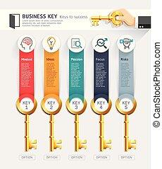 ベクトル, ありなさい, 概念, illustration., ビジネス, ワークフロー, オプション, 数, レイアウト, 図, 使われた, デザイン, 缶, キー, infographics, template., 網, スタートアップ, design.