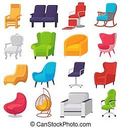 ベクトル, ∥あるいは∥, セット, ビジネス, 供給される, 肘掛け椅子, 現代, 隔離された, イラスト, 快適である, 容易椅子, アパート, デザイン, 背景, 内部, office-chair, 椅子, 席, 白, 家具