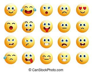 ベクトル, ∥あるいは∥, 黄色の額面, emoticon, emoji, 微笑, set., emoticons