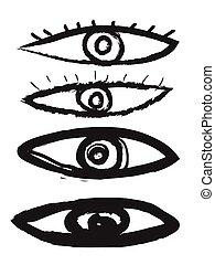ベクトル, いたずら書き, セット, アイコン, 目