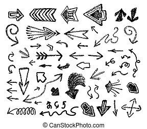 ベクトル, いたずら書き, セット, 矢