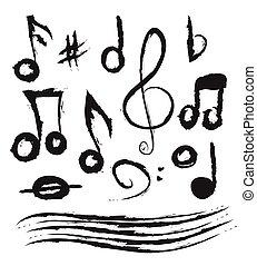ベクトル, いたずら書き, セット, 音楽メモ