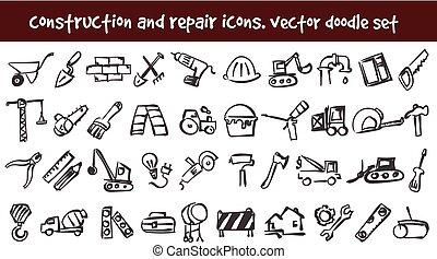 ベクトル, いたずら書き, 建設, そして, 修理, アイコン, セット
