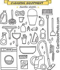 ベクトル, いたずら書き, tools., セット, 清掃