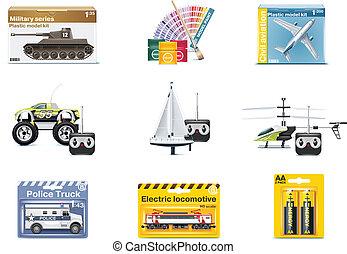 ベクトル, おもちゃ, ティーネージャー, icons., おもちゃ