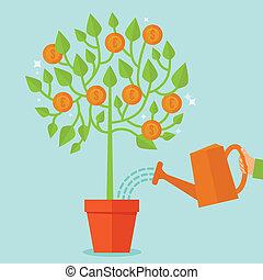 ベクトル, お金の 木, 概念, 中に, 平ら, スタイル