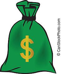 ベクトル, お金, グラフィック, 袋