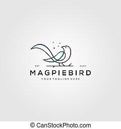ベクトル, かささぎ, イラスト, 鳥, 芸術, デザイン, 線, シンボル, ロゴ