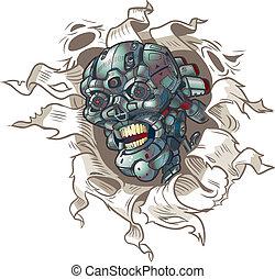 ベクトル, から, ロボット, 破れる, 頭骨