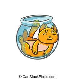 ベクトル, かわいい, ねこ, 特徴, 中に, ∥, 水族館, 液体, ねこ, ライン, style.,...