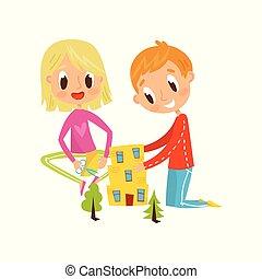 ベクトル, かわいい, わずかしか, 概念, 男の子, イラスト, 適用, 詳細, 子供, 開発, 創造性, 切断, 教育, 女の子