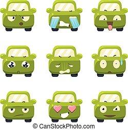 ベクトル, かわいい, セット, emoticons., 自動車