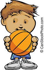 ベクトル, かわいい, バスケットボール, 男の子, イラスト, プレーヤー, ボール, 手を持つ, 漫画