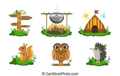 ベクトル, かわいい, リス, 要素, 動物, 道標, キャンプ, セット, 森林地帯, フクロウ, 木製である, キャンプファイヤー, イラスト, 大がま, テント, ハリネズミ
