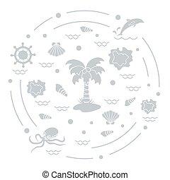 ベクトル, かわいい, 別, 屋外, 取り決められた, レクリエーション, イラスト, オブジェクト, 関係した, 観光事業, circle.