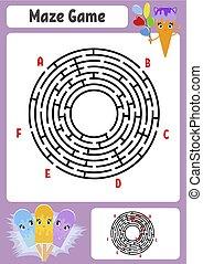 ベクトル, かわいい, 子供, illustration., cream., 入口, 迷路, maze., 抽象的, conundrum., 氷, 1(人・つ), ゲーム, answer., children., 漫画, exit., worksheets., 困惑, ラウンド