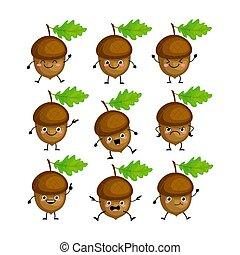 ベクトル, かわいい, 特徴, nuts., セット, ドングリ, emitions, 別, 面白い, illustration.