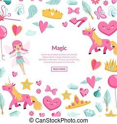 ベクトル, かわいい, artoon, マジック, そして, fairytale, 要素, 背景, ∥で∥, 場所,...
