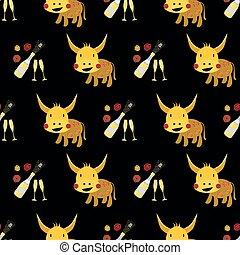 ベクトル, かわいい, kawaii, 年, peonies., 中国語, ガラス, ペーパー, 2021., 背景, パターン, 切口, 牛, 新しい, 雄牛, 泡, バックグラウンド。, びん, から, seamless, シンボル, 金, シャンペン, カレンダー